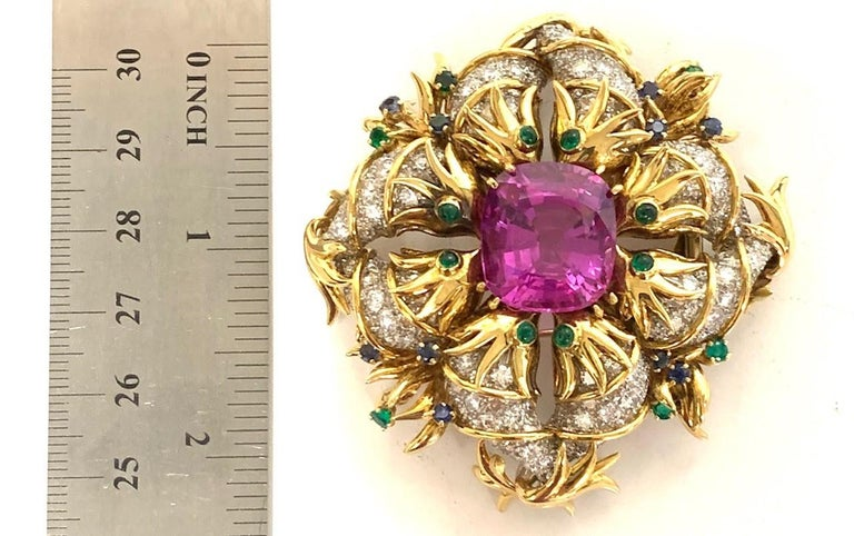 Women's Tiffany & Co. by Sonia Younis, 21.49 Carat Pink Sapphire 18k and Platinum Brooch For Sale