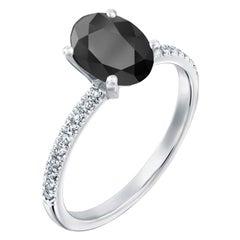 2.15 Carat 14 Karat White Gold Certified Oval Black Diamond Engagement Ring
