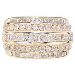 2.15 Carat 5-Row Channel Set Princess Round Diamond Gold Dome Cocktail Ring