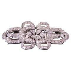 2.15 Carat Art Deco Diamond Double Clip Brooch Set in Platinum