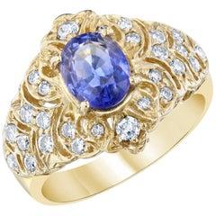 Blue Sapphire Diamond 2.15 Carat Statement Ring