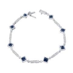 2.15 Carat Blue Sapphire Diamond White Gold Bracelet