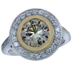 2.15 Carat Cognac Diamond Platinum Halo Ring
