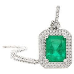 2.15 Carat Colombian Emerald and Diamond 18 Karat Gold Pendant