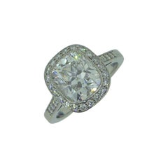 2.15 Carat Cushion Diamond and Platinum Halo Solitaire Engagement Ring with GIA
