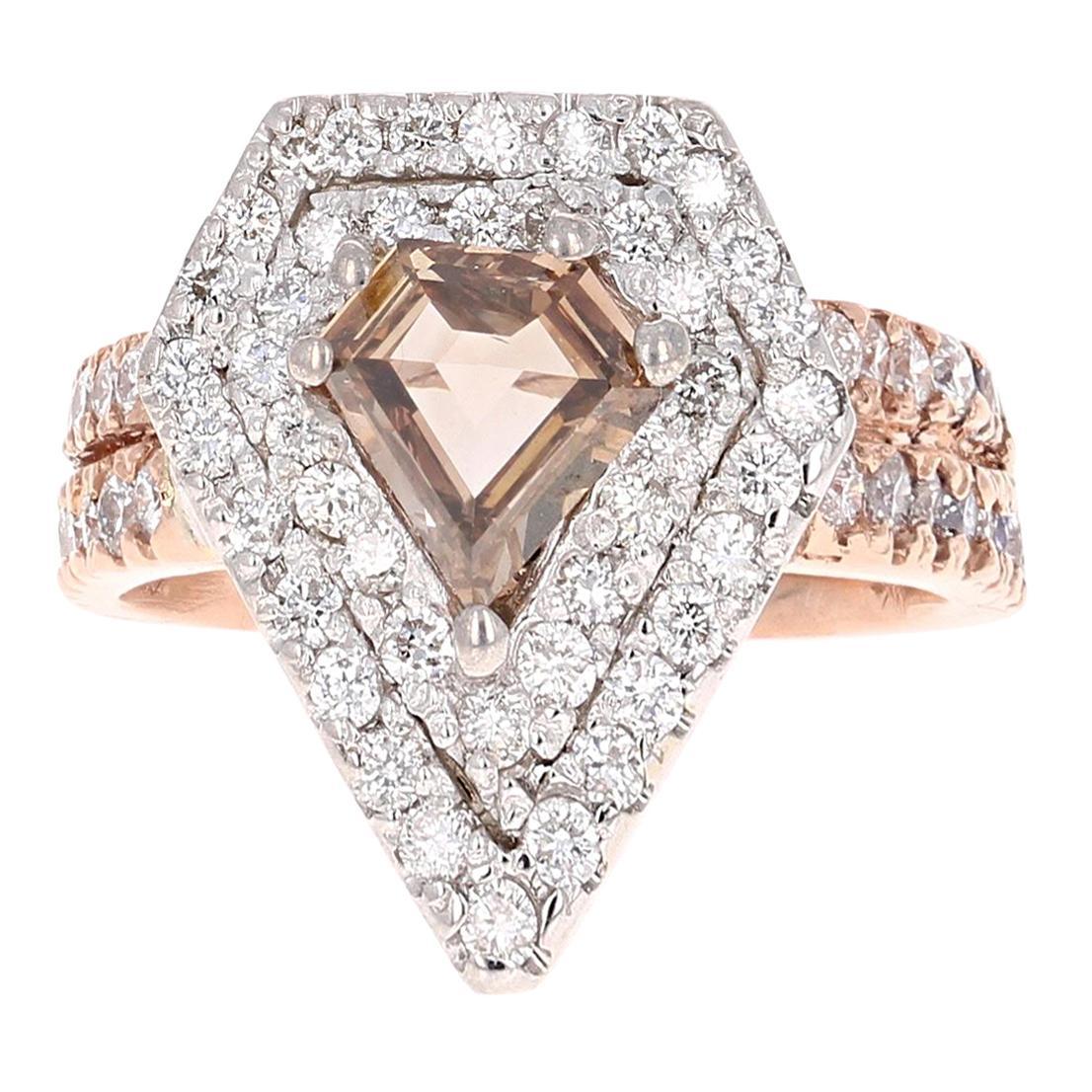 2.15 Carat Fancy Diamond Cut Diamond Engagement Ring 14 Karat Rose White Gold