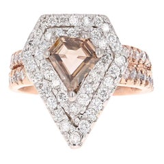 2.15 Carat Fancy Diamond Cut Diamond Engagement Ring 14 Karat Rose White Gold