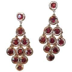 21.5 Carat Garnet Chandelier Gold Statement Drop Earrings Estate Fine Jewelry