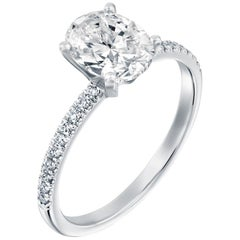 2.15 Carat GIA Oval Cut Diamond Ring, 18 Karat Gold Solitaire Engagement Ring