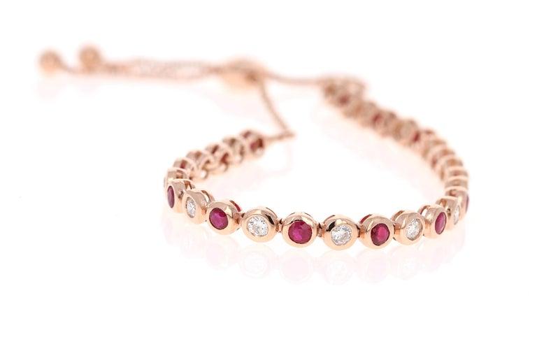 Modern 2.15 Carat Natural Ruby Diamond 14 Karat Rose Gold Flexible Bracelet For Sale