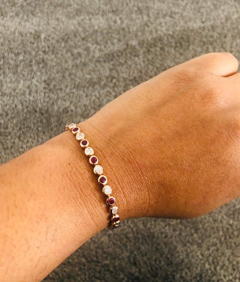 Round Cut 2.15 Carat Natural Ruby Diamond 14 Karat Rose Gold Flexible Bracelet For Sale