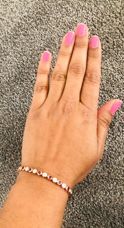 Women's 2.15 Carat Natural Ruby Diamond 14 Karat Rose Gold Flexible Bracelet For Sale