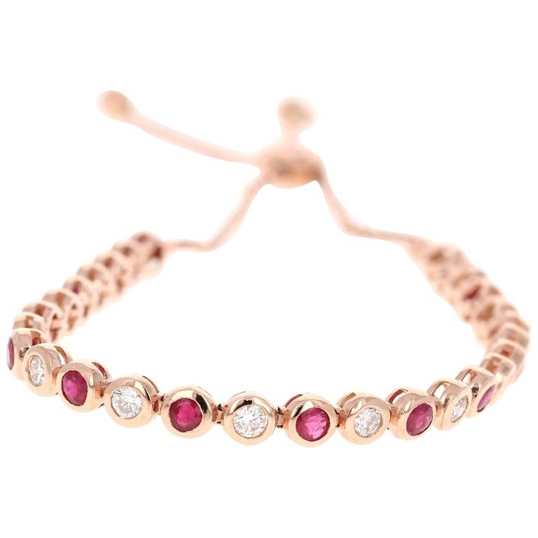 2.15 Carat Natural Ruby Diamond 14 Karat Rose Gold Flexible Bracelet For Sale