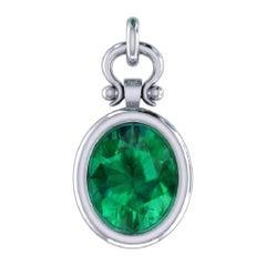 2.15 Carat Oval Cut Emerald Pendant Necklace in 18K