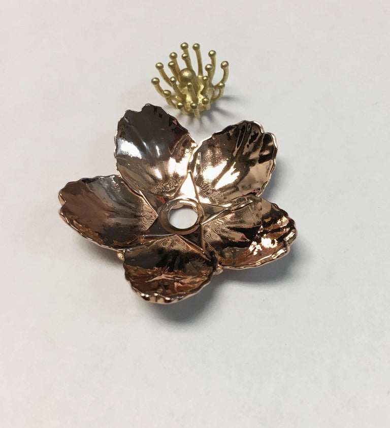 Cherry Blossom Pendant with 2.20ct Pavé Set Diamonds 20kt Rose Gold For Sale 1