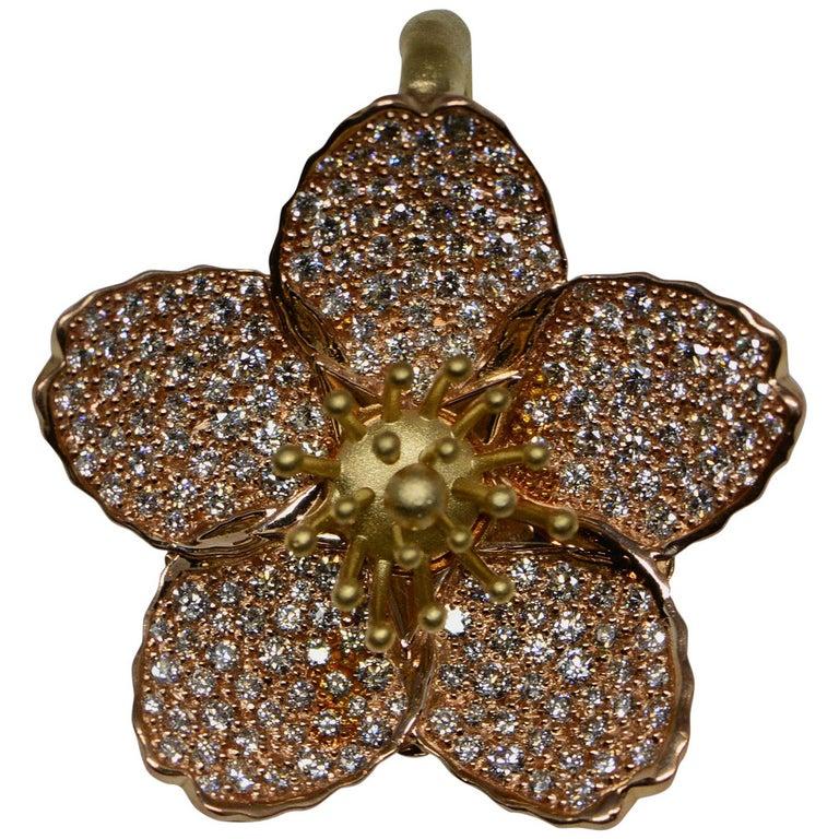 Cherry Blossom Pendant with 2.20ct Pavé Set Diamonds 20kt Rose Gold For Sale