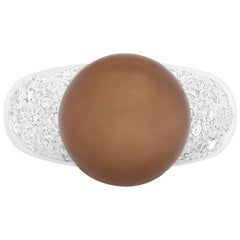 2.15 Carat Pearl and Diamond Ring