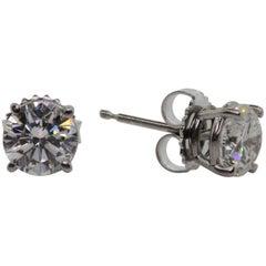 2.15 Carat Round Brilliant Diamond Stud Earrings