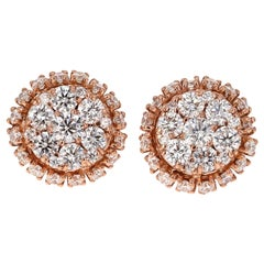 2.15 Carat Round Cut Diamond Rose Gold Cluster Stud Earrings