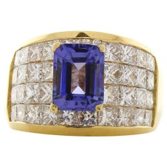 2.15 Carat Tanzanite and Princess Cut Diamond Cocktail Ring in 18 Karat Gold