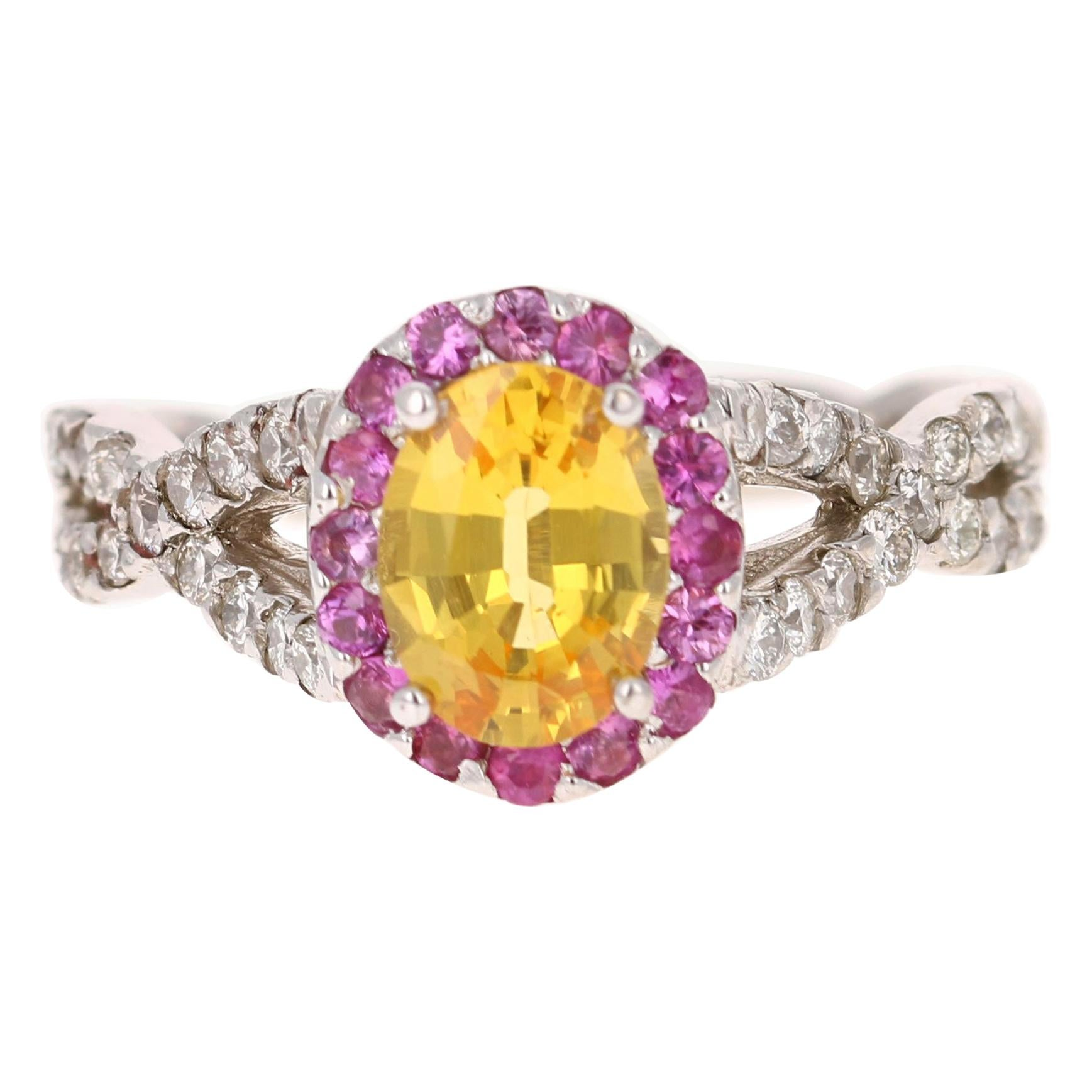 2.15 Carat Yellow Pink Sapphire Diamond 14 Karat White Gold Ring