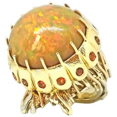 21.50 Carat Natural Ethiopian Opal Intense Orange Sapphire Jellyfish Ring