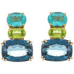 21.51 Carat Apatite Peridot and Sky Blue Topaz 18 Karat Yellow Gold Earrings
