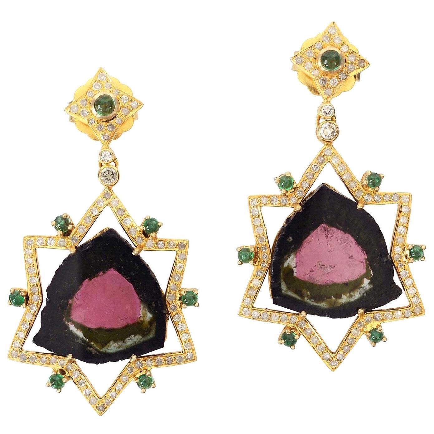 21.51 Carat Tourmaline Emerald Diamond 18 Karat Gold Earrings