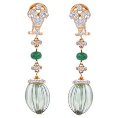 21.57 Carat Prasiolite Emerald Diamond 18 Karat Yellow Gold Earrings