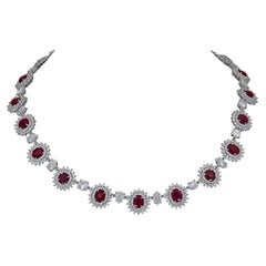 21.58 Carat Ruby and 30.98 Carat Diamond Halo Flower Necklace
