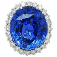 21.59 Carat No-Heat Ceylon Sapphire and Diamond Ring, by Schilling