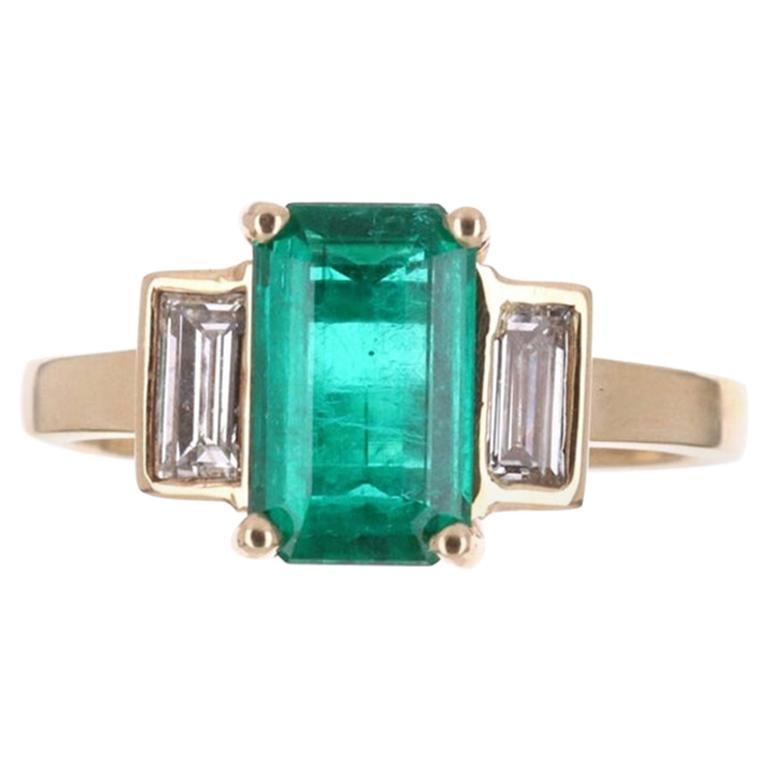2.15tcw 18K Three Stone Emerald Cut Emerald & Diamond Ring