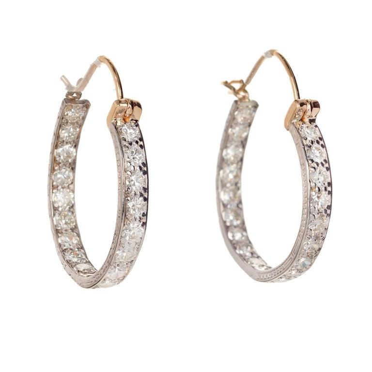 2.16 Carat Diamond Inside Out Platinum Gold Hoop Earrings