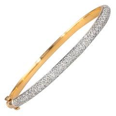2.16 Carat Diamond Pave Bengal 18 Karat Gold Open Clasp