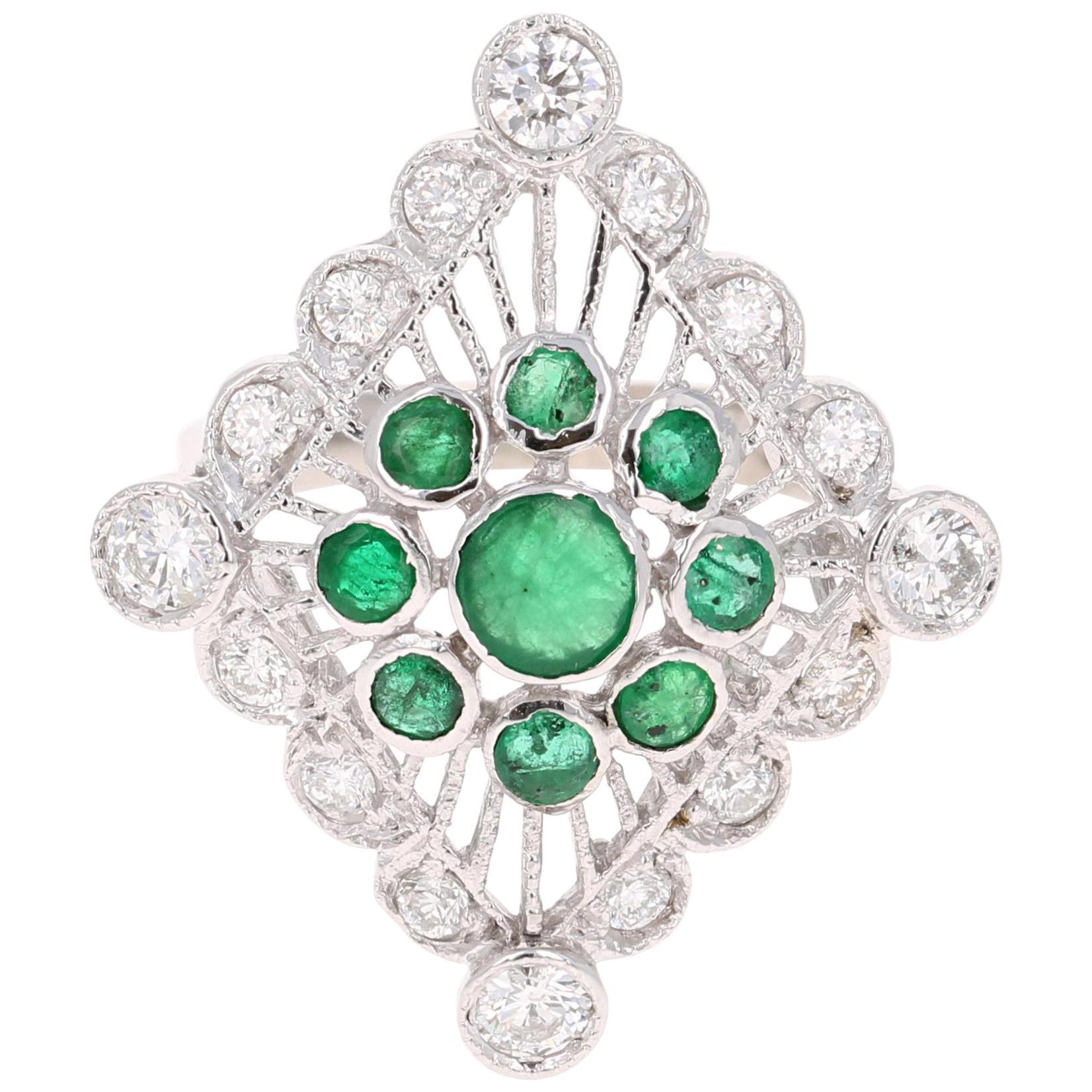 2.16 Carat Emerald Diamond Cluster 14 Karat White Gold Cocktail Ring