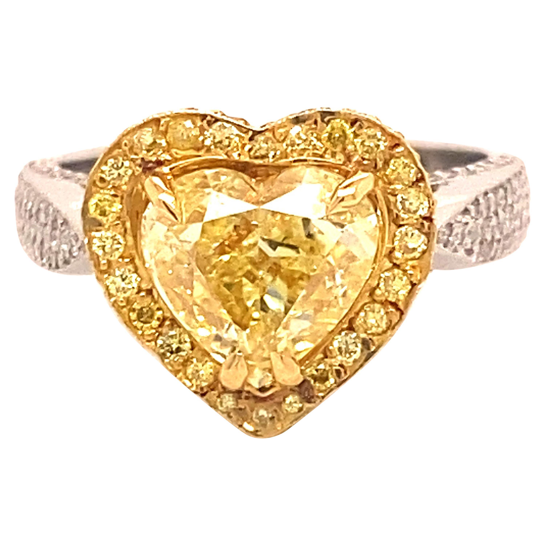 2.16 Carat Fancy Intense Yellow Diamond Heart Shape Ring GIA Certified