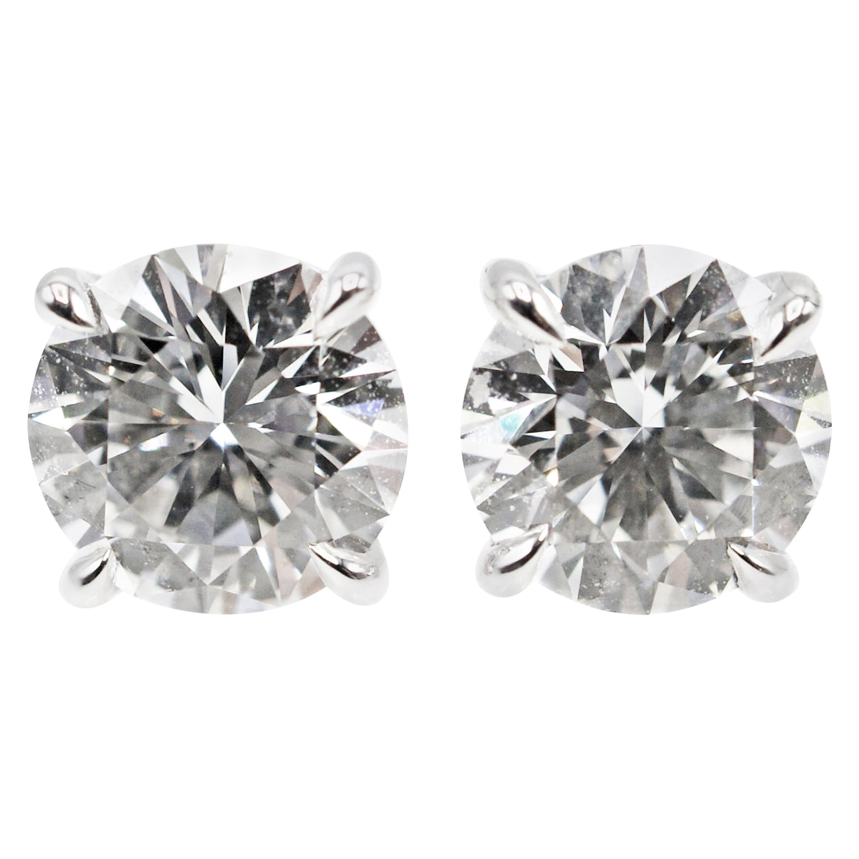 2.16 Carat GIA Certified Diamond Platinum Stud Earrings