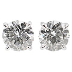 2.16 Carat GIA Certified Diamond Platinum Stud Earrings