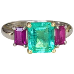 2.16 Carat Natural Colombian Emerald Ruby Engagement Ring Platinum and 18 Karat