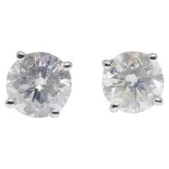 GIA 2.16 Carat Natural Diamond Round Studs
