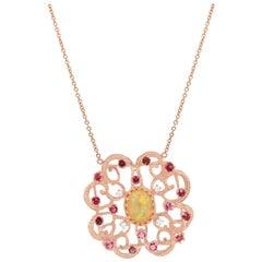 2.16 Carat Opal, Pink Tourmaline, and Diamond Pendant