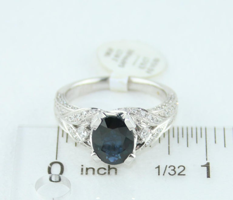 2.16 Carat Oval Blue Sapphire Diamond Gold Ring For Sale 3