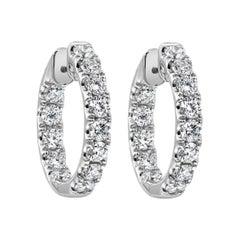 2.16 Carat Round Diamond Hoop Earrings