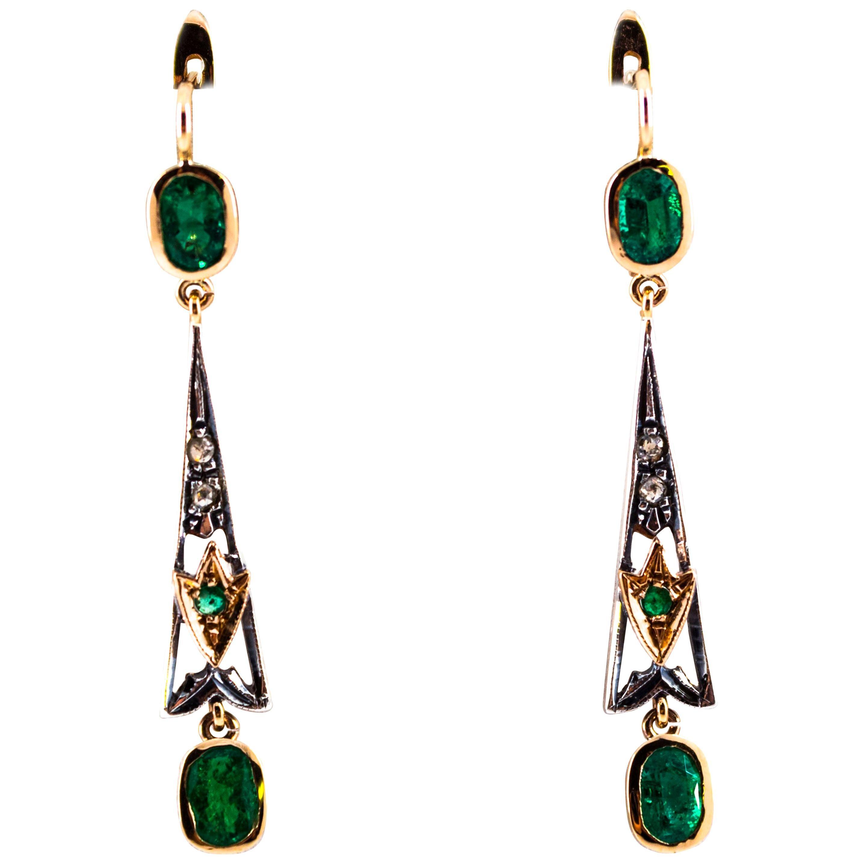 2.16 Carat White Rose Cut Diamond Emerald Yellow Gold Lever-Back Drop Earrings