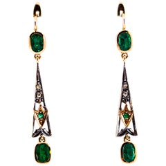 2.16 Carat White Rose Cut Diamond Emerald Yellow Gold Lever-Back Drop Earrings
