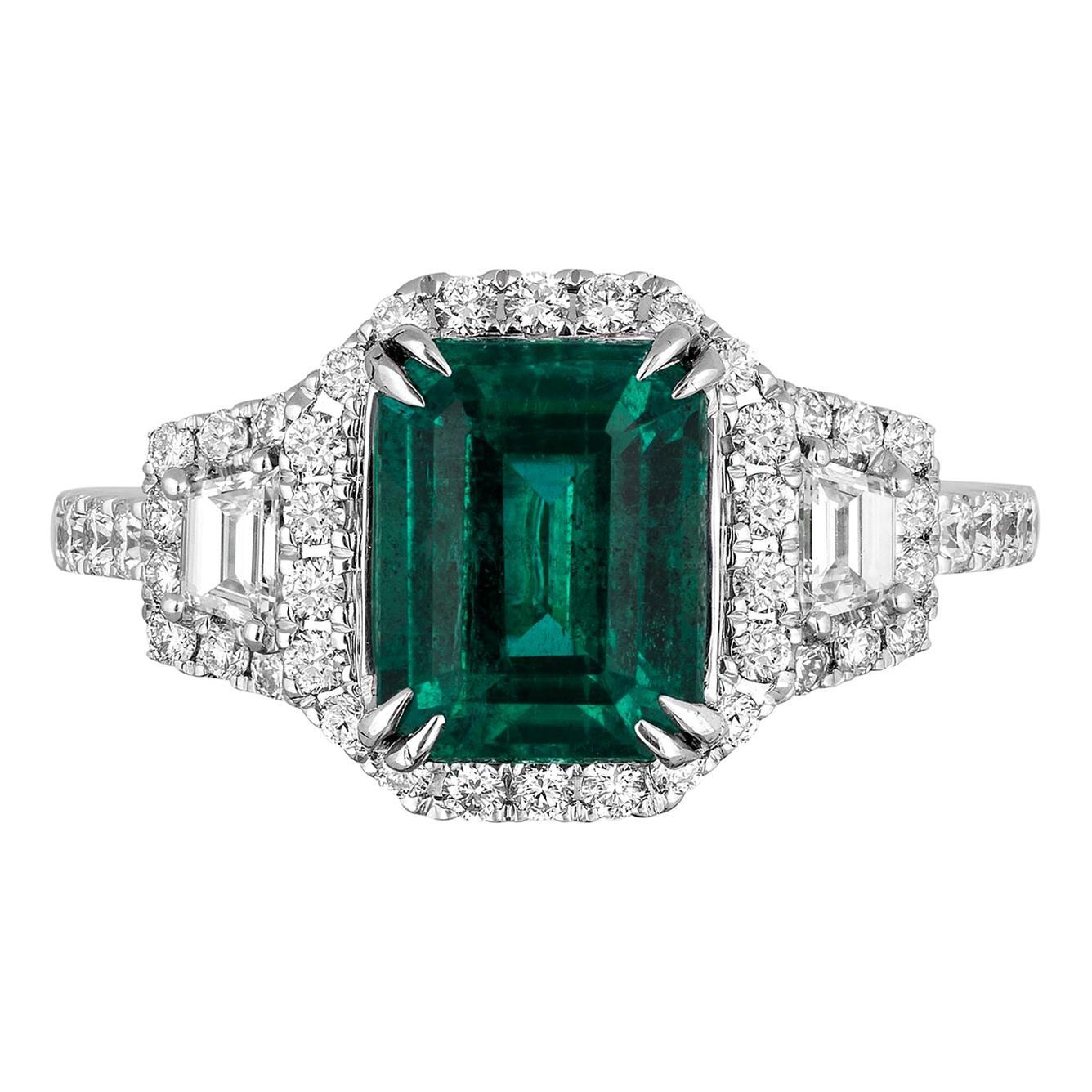 2.16 Carat Zambian Emerald Diamond Cocktail Ring