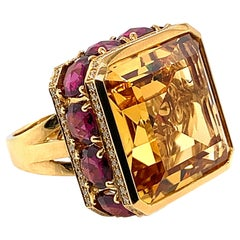 21.63 Carat Octagon Shaped Honey Quartz Ring in 18 Karat Gold with Diamonds