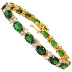 21.68 Carat Natural Vivid Bright Green Tsavorite Diamonds Tennis Bracelet