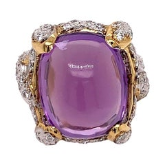 21.68 Carat Retro Gold Cocktail Ring Natural Diamond and Cab Amethyst circa 1960