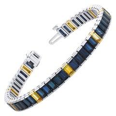 "21.69 Carat Total, ""Blue and Gold"" Sapphire Baguette White Gold Tennis Bracelet"